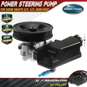 Power Steering Pump W Pulley For Dodge Dakota 3 7l 4 7l 2005 2007 52855186ah