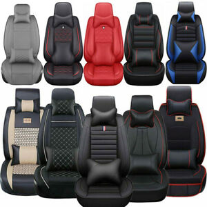 14 Luxury Car Seat Cover 5 seats Truck Suv Protector Interior Leather Cushions
