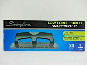 Swingline Low Force Punch Smarttouch 3 Hole Punch 20 Sheet Capacity New