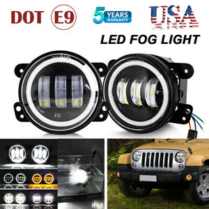 Pair 4 Led Fog Lights Halo Angel Eyes Front Bumper Lamp For Jeep Wrangler Jk