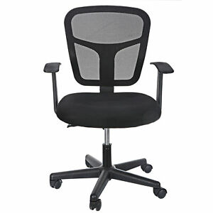 Black Office Chair Mid Back Swivel Desk Chair Mesh Chair With Armrest