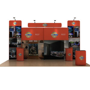 20ft Trade Show Displays Pop Up Fabric Stand Booth Kits With Lights Counters