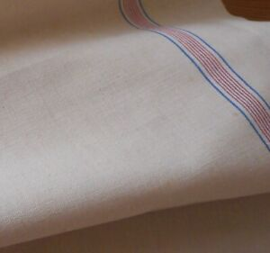 Vintage French Linen Cotton Metis Toweling Fabric Red Blue Ticking Stripe