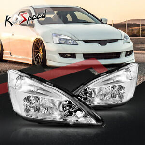 Chrome clear Corner Oe Style Halogen Headlight Headlamps For 03 07 Honda Accord