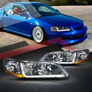 2x Smoked Headlight headlamp amber Corner Signal led Drl For 98 02 Honda Accord