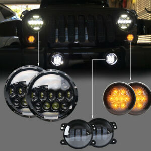 Fit 07 18 Jeep Wrangler Jk 7 Led Headlight 4 Fog Light Turn Signal Combo Kit