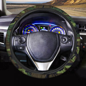 Green Camouflage Car Accessories Steering Wheel Protector Cover Universal Fit