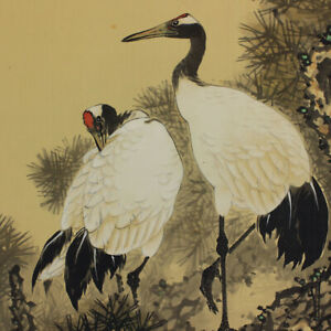 Japanese Art Painting Crane Hanging Scroll Old Pine Japan Antique Art 100p