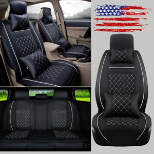 Pu Leather 5 seat Car Seat Cover W pillow Full Set Front rear Cushions For Honda