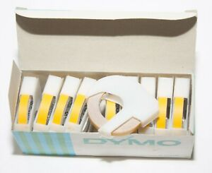 Dymo Label Maker Tape Yellow Vintage Box Of 10 Rolls 6mm Approx 1 4 X 3m