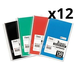Spiral Notebook 3 Subjects Medium college Rule Assorted Color Covers 9 5 X