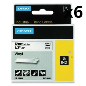 6 Pack Of Rhino Permanent Vinyl Industrial Label Tape 0 5 X 18 Ft