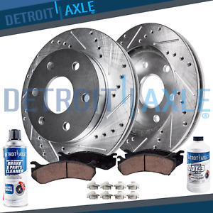 Front Drilled Brake Rotors Ceramic Pad 2007 2019 Chevy Silverado Gmc Sierra 1500