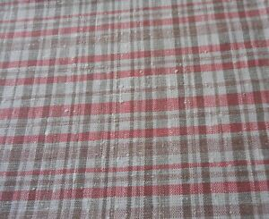 Antique Vintage Pure Linen Woven Plaid Fabric Coral Mushroom Brown