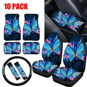 Women S Butterfly Car Seat Covers Full Set Of 10pc Floor Mats Seat Belt Pads