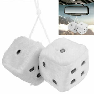 White Car Dice Fuzzy Soft Squishy Mirror Hanging Hung Large Big Giant Good Luck
