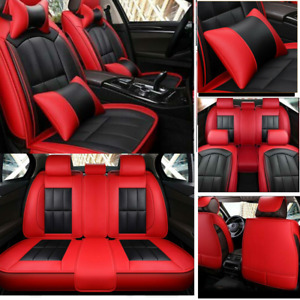 Us Red Car Seat Covers Protector Cushion Pu Leather Universal W pillows Interior