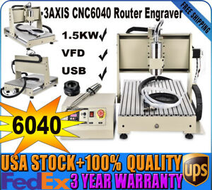 Cnc 6040 1500w 3axis Usb Router Cutter Engraver Milling Carving Machine 3d