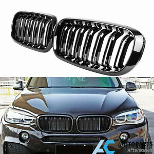 Gloss Black Dual Slats Front Kidney Grille For Bmw F15 f16 X5 x6 2014 2018