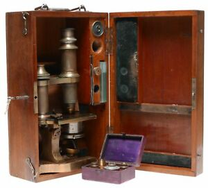 Brass Microscope Vintage Full Set Of Brass Lenses Wood Case