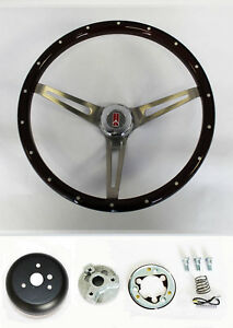 69 93 Oldsmobile Cutlass 442 Wood Steering Wheel With Rivets High Gloss 15