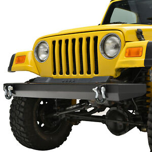 Paramount Black Steel Front Bumper With D Ring Fit For 87 06 Jeep Wrangler Tj Yj