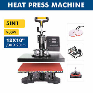 Digital 5 In 1 Transfer Heat Press Machine 12x10 Sublimation T shirt Mug Hat