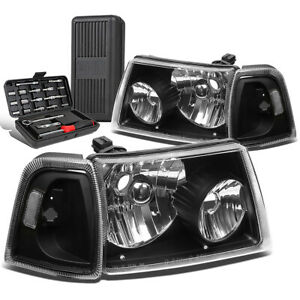 For 2001 2011 Ford Ranger Pair Black Clear Side Headlight Head Lamps Tool Box
