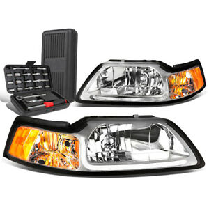 For 1999 2004 Ford Mustang Led Drl Tube Chrome amber Side Headlights tool Box