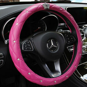 Pink Car Steering Wheel Cover 38cm 15 Crown Diamond Deluxe Leather For Girl