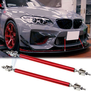 Red Adjust Front Bumper Lip Splitter Strut Rod Tie Support Bars For Bmw 8 11