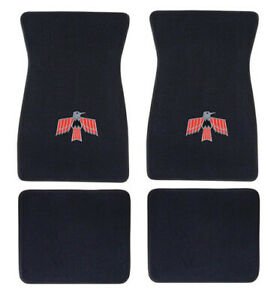 New 1967 1973 Pontiac Firebird Floor Mats 4pc Set Black Carpet Bird Logo