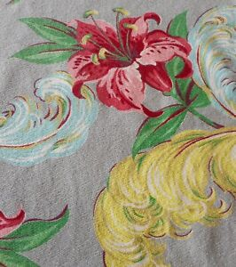 Antique Vintage Lily Plume Barkcloth Cotton Fabric Coral Pink Blue Yellow