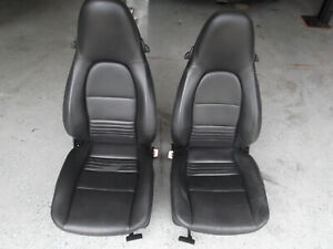 97 04 Porsche Seat Set Boxster 911 996 986 Black Leather Power Heated Nice
