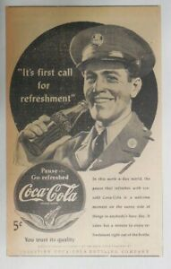 Coca-Cola ad: Soldier Drinking Coca-Cola ~ 6.5 x 10 inches from 1940's