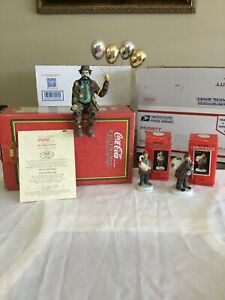 Emmett Kelly Senior Figurines lot of 3. One is from the 100 Coca Cola Collection