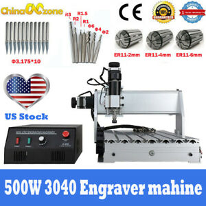 Mini Cnc 3040 3 axis Router 500w Engraving Cutting milling Machine 110v Us Stock