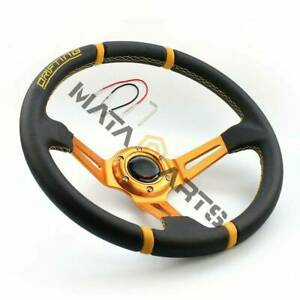 350mm Suede Leather Gold Spoke Deep Dish Steering Wheel For Drift Racing