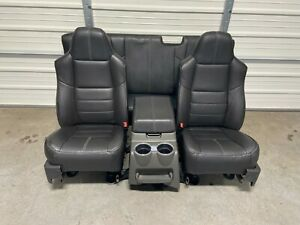 2008 2010 Ford F250 F350 Super Duty Front Rear Seats Black Leather Extended Cab