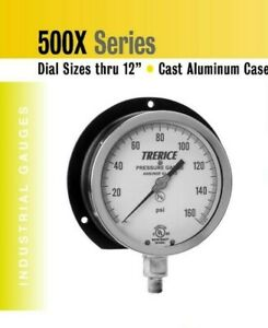 Industrial Pressure Gauge 6 Dial Trerice 0 60 Psi Lower Connection 1 4 Npt