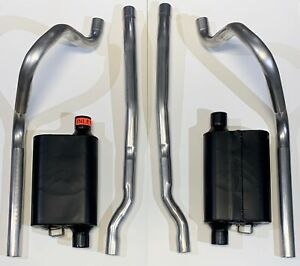 1965 1966 Ford Mustang Dual Exhaust 2 1 4 W Flowmaster Mufflers