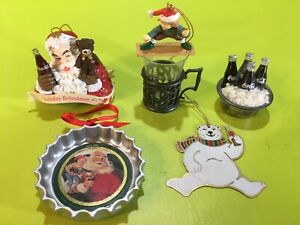 Vintage Lot of 5 Coca Cola Christmas Ornaments Pre Owned
