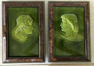Pair Of Antique Wedgwood Majolica Tiles Green Silhouettes Excellent Condition