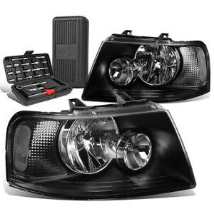 For 2003 2006 Ford Expedition Pair Black Clear Turn Signal Headlights Tool Box