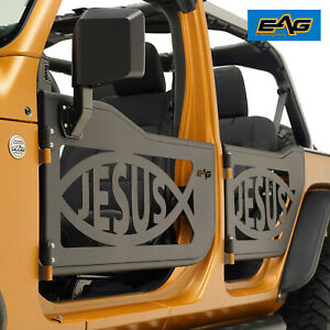 Eag Jesus Fish Tubular Door With Side Mirror Fit For 18 20 Jeep Wrangler Jl 4dr