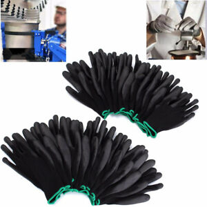 12 24 Pairs Nylon Pu Safety Work Gloves Lot For Builders Palm Coating Useful
