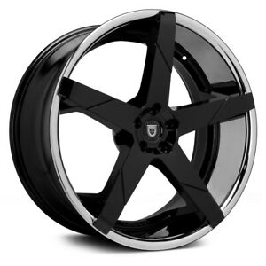 4 24 24x9 24x10 Staggered 5x120 Lexani Invictus Black Wheels Rims Bmw 7