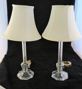 Pair Of Vintage Art Deco Candlestick Vanity Lamps With Shades