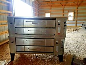 Bakers Pride Bari Brick Double Stacked Gas Pizza Ovens Used