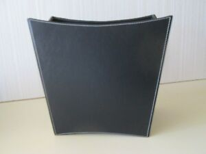 Office Suite Black Leatherette White Stitching Home Waste Paper Garbage Can